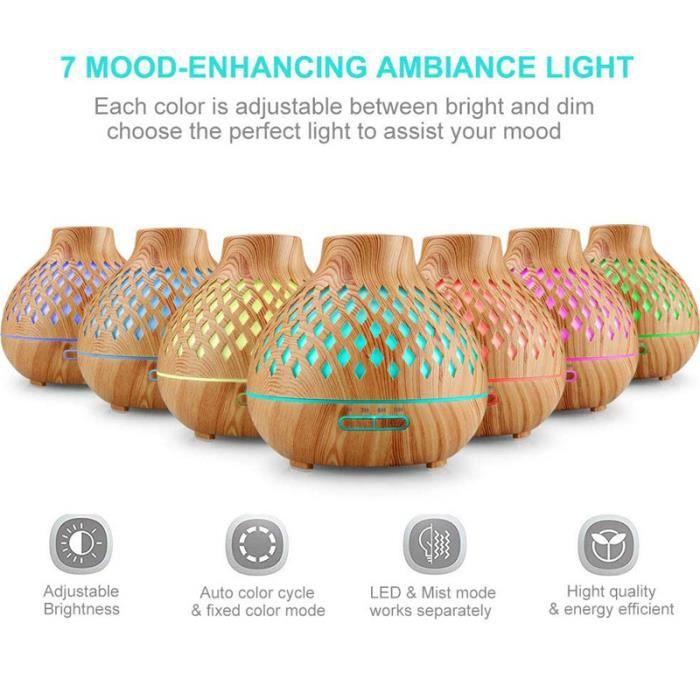 Diffuseur d'Huiles Essentielles, 400ml Humidificateur Ultrasonique avec 7 Couleurs Lumières LED pour la Maison, Yoga, Bureau, SPA
