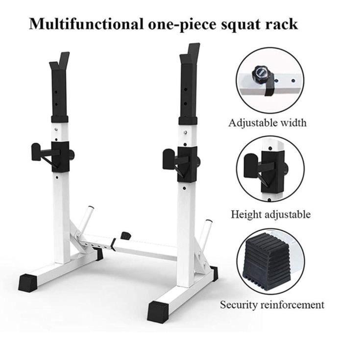 Cage de Squat Support de Squat Multifonctionnel Monobloc Réglable NOIR BLANC Charge Max.200kg - 73-105 * 54 * 80-150cm
