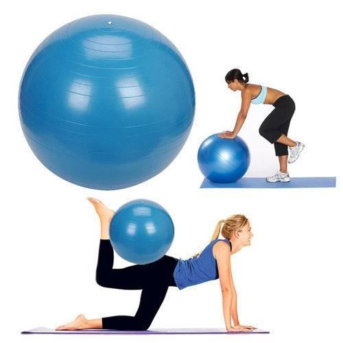 75CM Ballon Suisse-GYM Boule deYoga Exercise Fitness Anti-Burst Avec Pompe Bleu