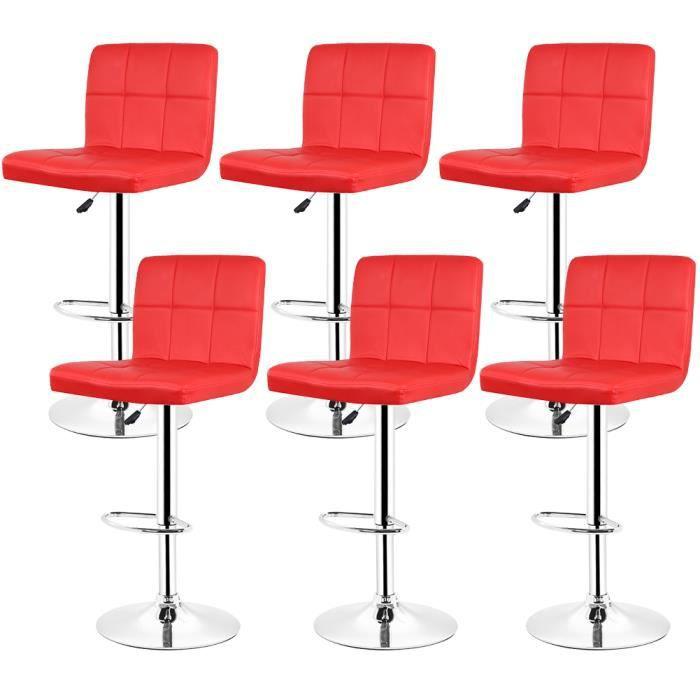 DIANWAA® 6 PCS Ensemble Tabourets de Bar Rouge Chaise à Manger Design Classique Cuir PU Maison Bistrot