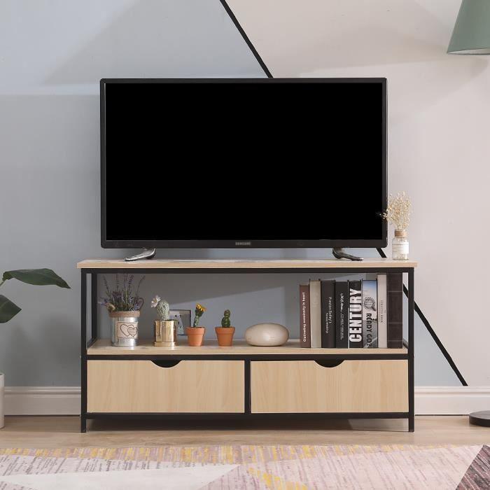 Meuble TV DETROIT en métal et bois - Décor bois et noir - design industriel