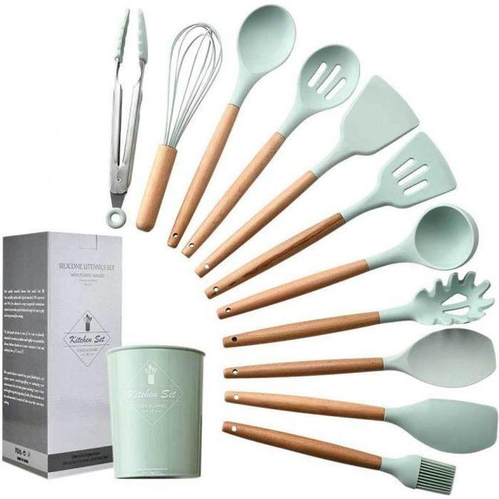 11pcs Set ustensiles de cuisine en silicone avec Boîte de rangement Coffret