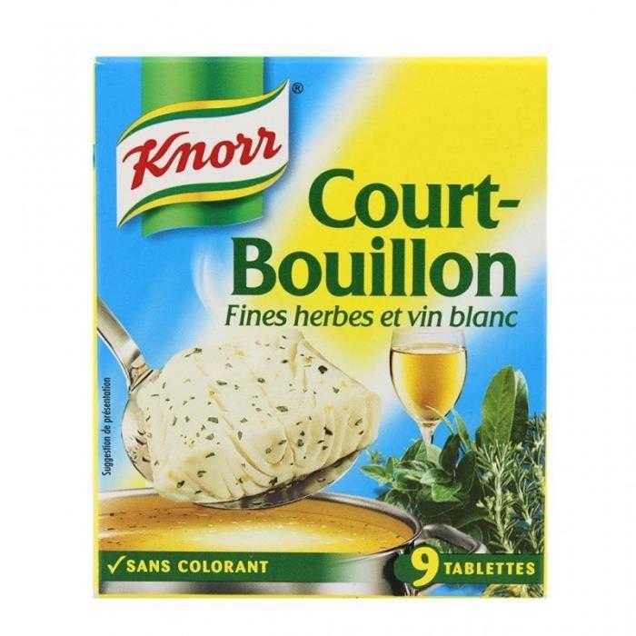Knorr Court-Bouillon Fines Herbes et Vin Blanc par 9 Cubes 107g (lot de 6)