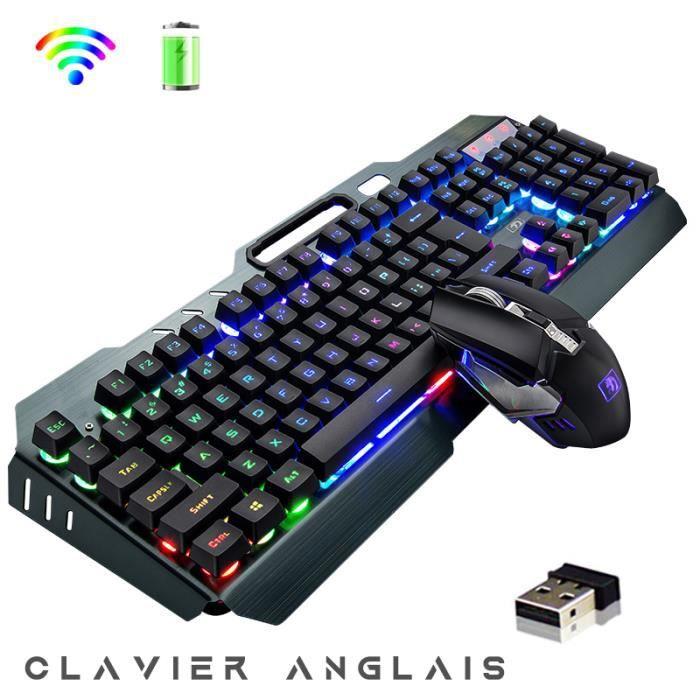 Gaming Pack Sans Fil Clavier Gamer+Souris+Tapis, Disposition QWERTY/Anglais , Semi-Mécanique, Rétro-éclairage Arc-en-ciel