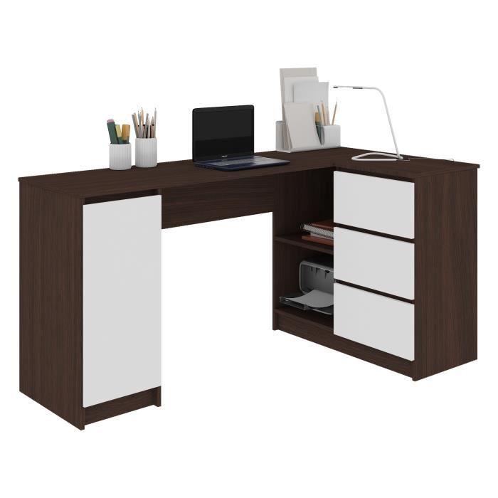 BALAUR - Bureau informatique d'angle contemporain 155x85x77 cm - 3 tiroirs + porte - Table ordinateur multi-rangements - Wenge/Blanc