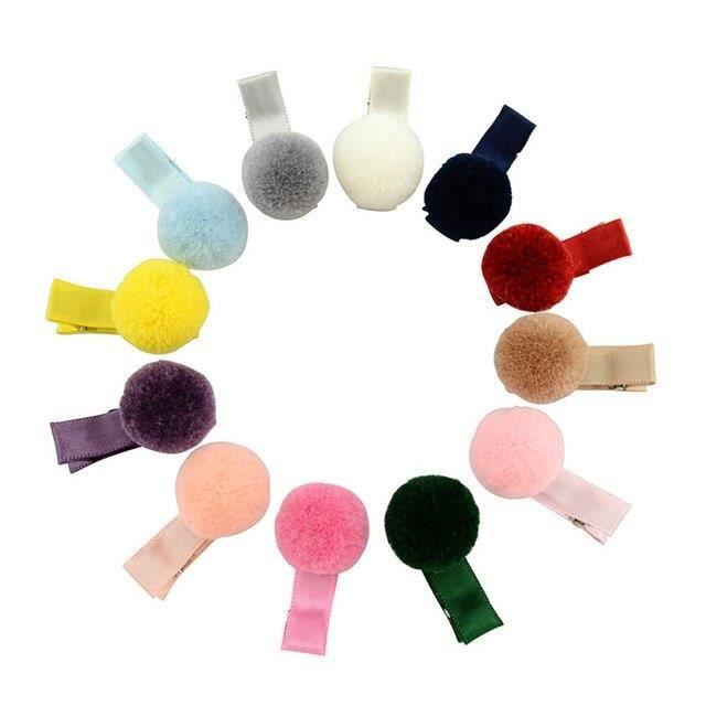 pinces à cheveux en peluche pour enfants, lot de 12 pièces, pompon, mignon, coréen, Boutique, boule de cheveux entièreme WL23481