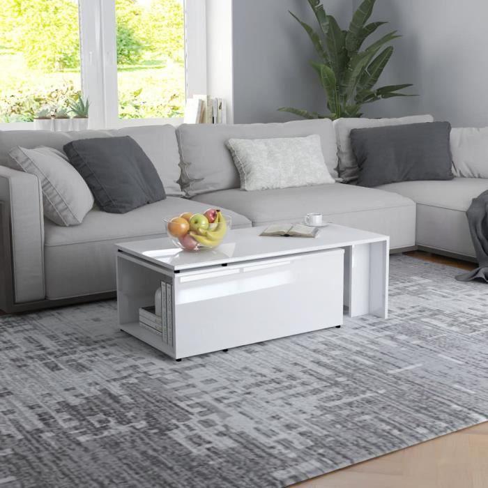 Style Élégance Chic - Table basse style Scandinave - Bout de canapé Table à thé Blanc brillant 150x50x35 cm Aggloméré - 24622