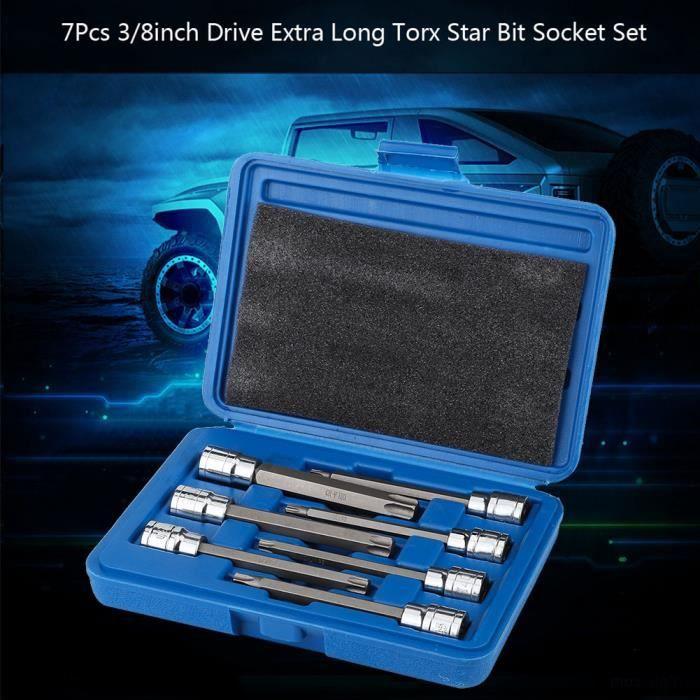 Jeu de 7Pcs douilles à embout étoile Torx 3 / 8inch Drive Extra Long Torx Star Bit Set de douilles MILLIONTEK