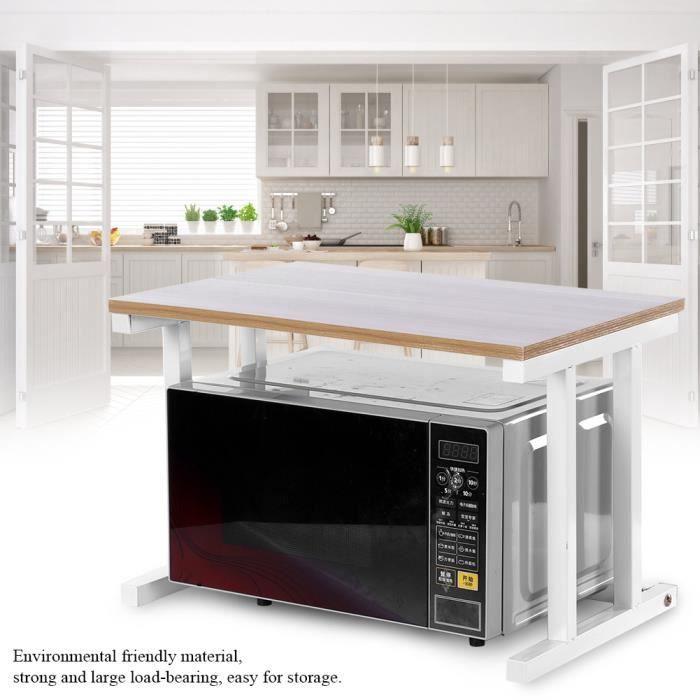 étagère Support de four à micro-ondes 57 *38 *38cm de rangement pour armoire de cuisine de comptoir à 2 couches - blanc HB044