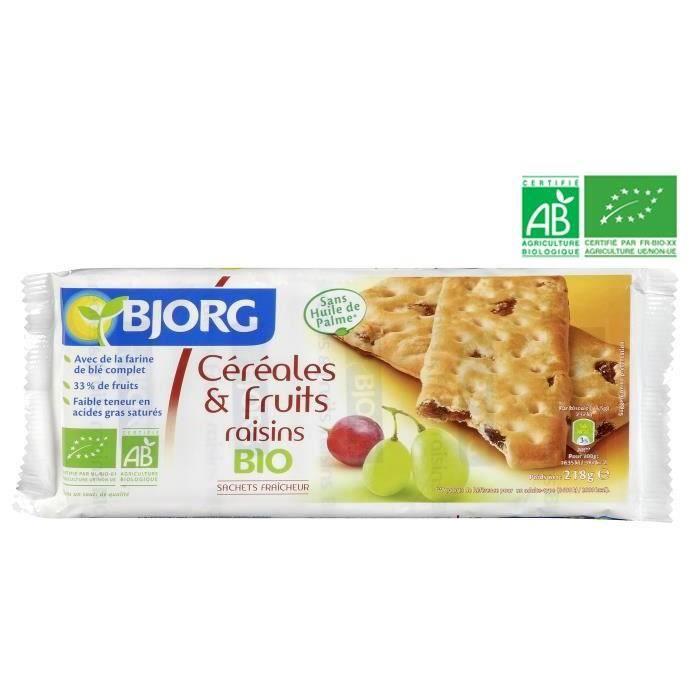 BJORG Biscuits Céréales Fruits Raisins Bio 218g