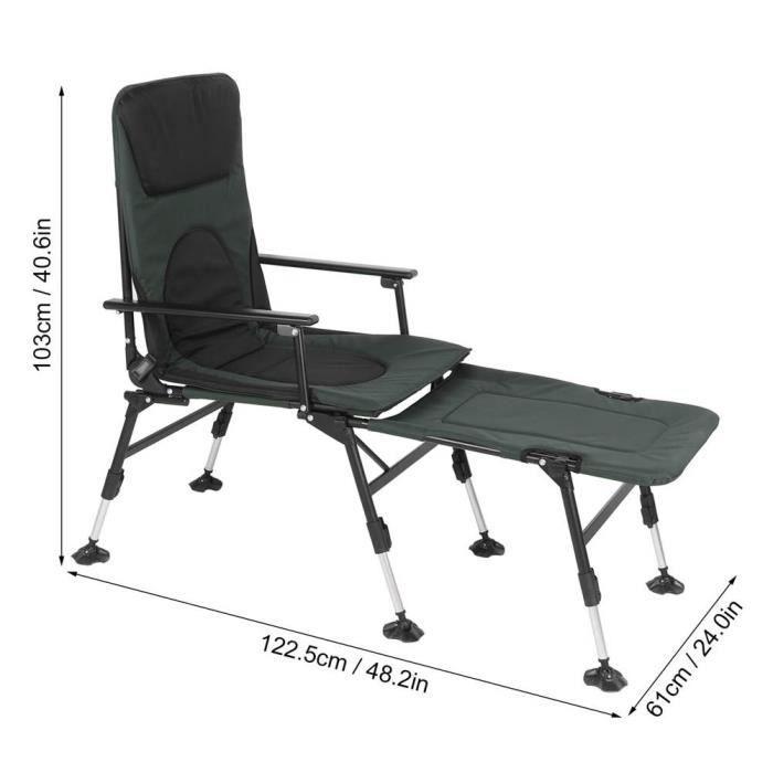 Chaise pliante pêche Fauteuil inclinable réglable avec repose-pieds HB014
