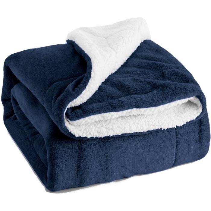 HZDHCLH plaid en flanelle 130x160cm Converture de lit Double couches réversible douce et chaude jeté de canapé Bleu