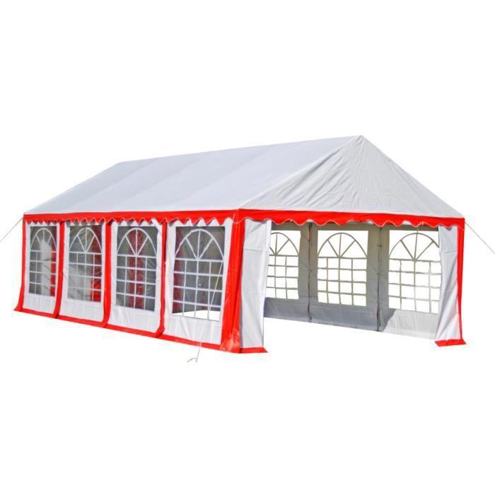 Barnum Châpiteau Tente de Réception 4x8 m Blanc Rouge contre le vent tente barbecue marchés camping pratique