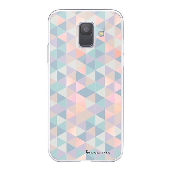 Coque Samsung Galaxy A6 2018 360 intégrale transparente Triangles multicolors Ecriture Tendance Design La Coque Francaise