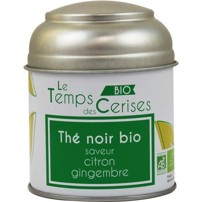 LE TEMPS DES CERISES Thé Noir Citron Gingembre Bio Boite Métal 30g