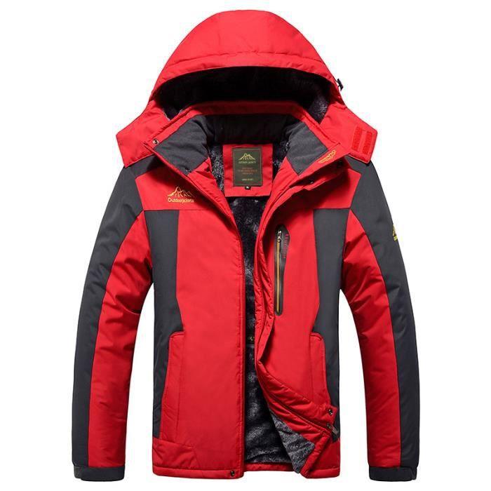 Veste Softshell homme à Capuche de Randonnée d'Extérieur Chaude Étanche Coupe-Vent Neige Ski De Sport Camping Pêche Travail Chasse