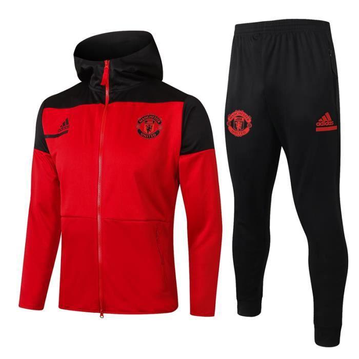 Maillot de Foot À Capuche Manchester United - Maillot de Football Homme 2021 Ensemble Survêtements de Foot Sport