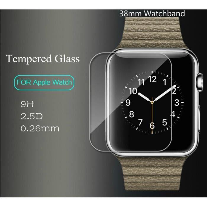Anti - empreintes digitales 9H 2.5D 0.26mm Marque Protection Écran Verre Trempé pour Apple Watch 38mm