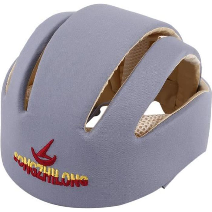Casques de sécurité pour bébé Bonnet de protection pour bébé en coton Bonnet anti-crash, gris