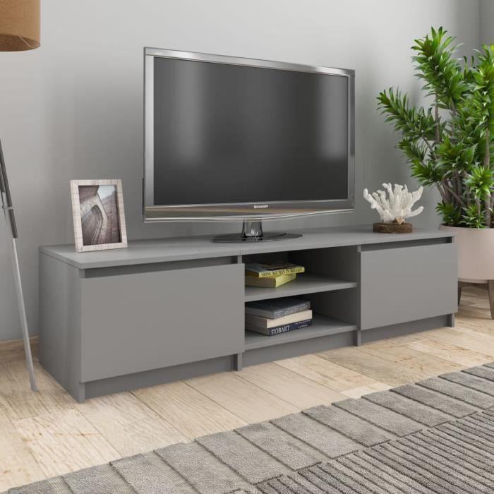 Meuble TV Gris 140x40x35,5 cm Aggloméré