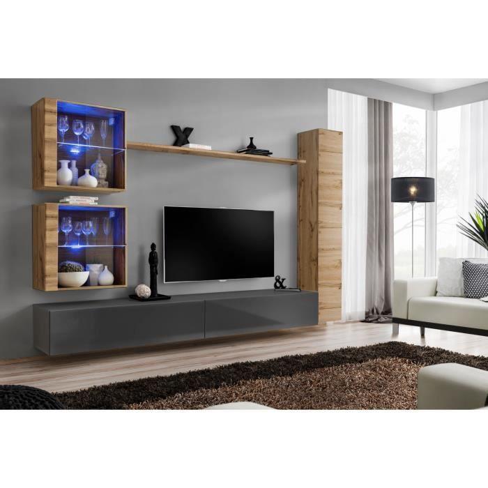 Ensemble meuble salon mural SWITCH XVIII design, coloris gris brillant et chêne Wotan. 40 Gris