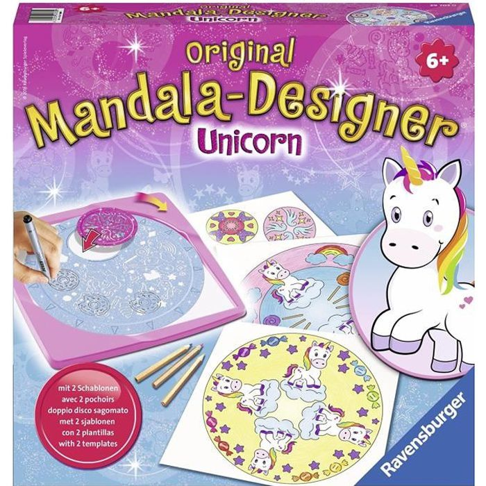 Mandala - format midi Licorne - Ravensburger - Loisirs créatifs - Dessins enfants au pochoir - dès 6 ans