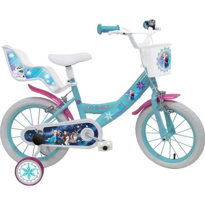 Vélo 14'' REINE DES NEIGES (Frozen) équipé de 2 freins, porte poupée, panier avant, stabilisateurs amovibles et pneus gonflables.
