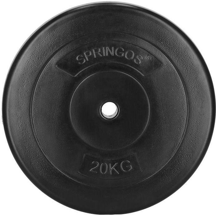 SPRINGOS® Disque 20 kg - noir, haltère, poids, musculation