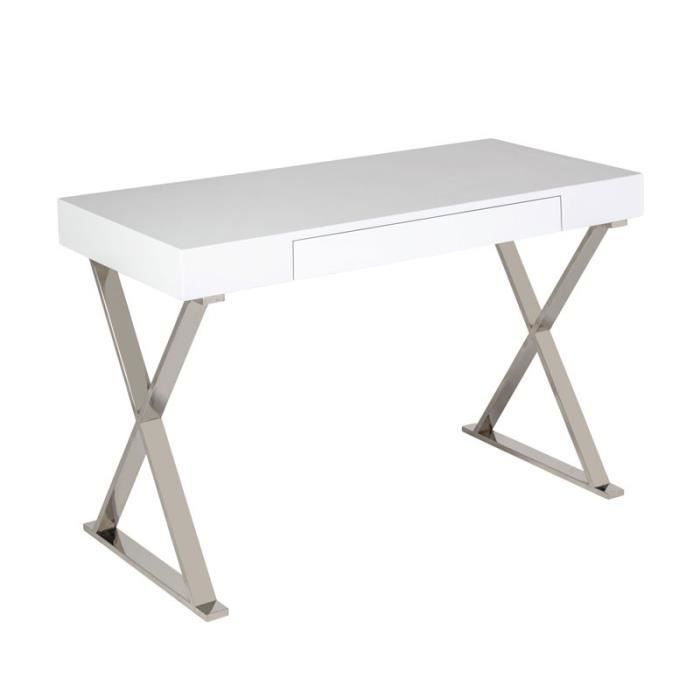 Bureau 1 tiroir Blanc laqué/Chrome - PASCO - L 120 x l 55 x H 75