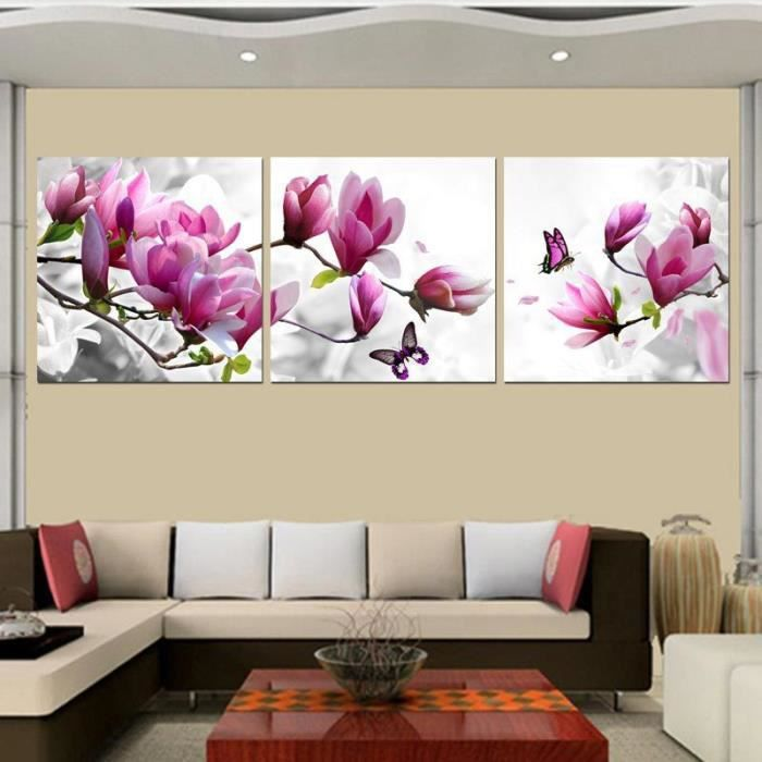 tableau moderne imprim sur toile multi panneaux 3 comit magnolia fleur en peignant cuadros. Black Bedroom Furniture Sets. Home Design Ideas