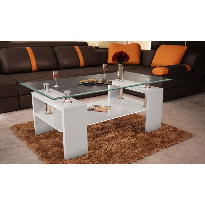 Table basse de salon en verre blanc achat vente table for Tables basses de salon en verre