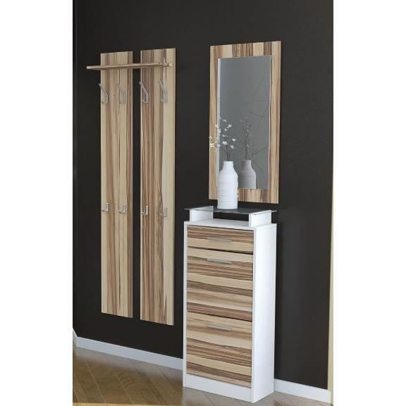 vestiaire penderie d 39 entr e blanc et bois nervur achat vente meuble d 39 entr e vestiaire. Black Bedroom Furniture Sets. Home Design Ideas
