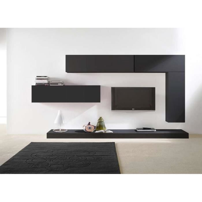 Ensemble tv mural design city noir noir noir achat for Meuble tv mural 240 cm blanc gris adhara