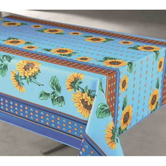 nappe rectangulaire anti taches 145 x 240 cm unie tournesol bleu achat vente nappe de table. Black Bedroom Furniture Sets. Home Design Ideas