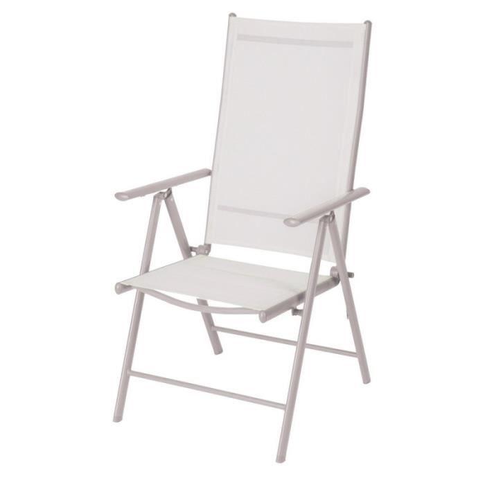 Lot de 2 chaises de jardin multipositions en fer et ...