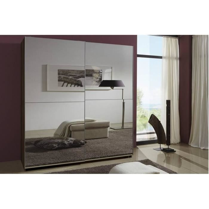 dressing clapton 180cm coloris noyer avec 2 portes. Black Bedroom Furniture Sets. Home Design Ideas