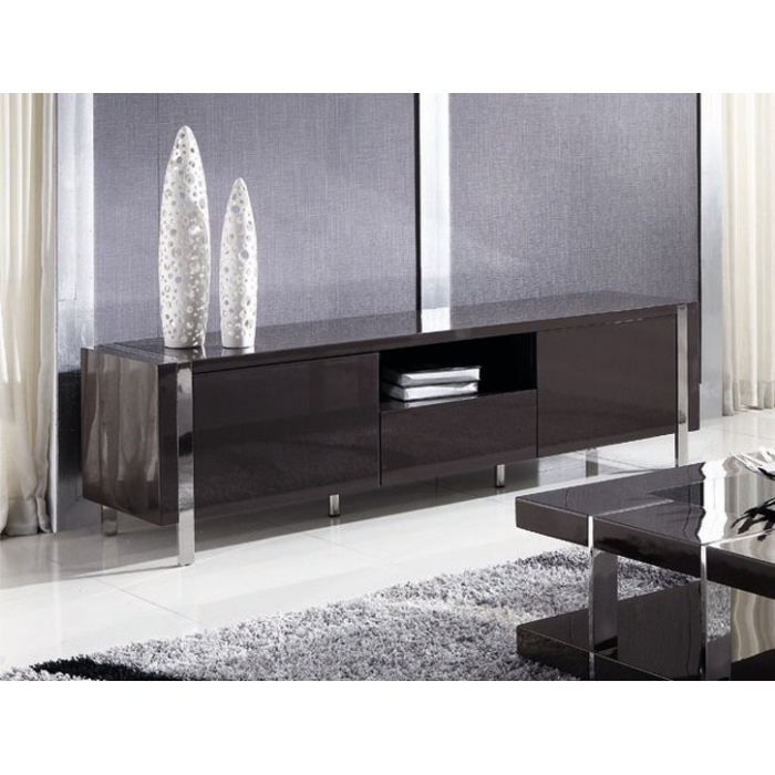 meuble tv noir brillant maison design. Black Bedroom Furniture Sets. Home Design Ideas