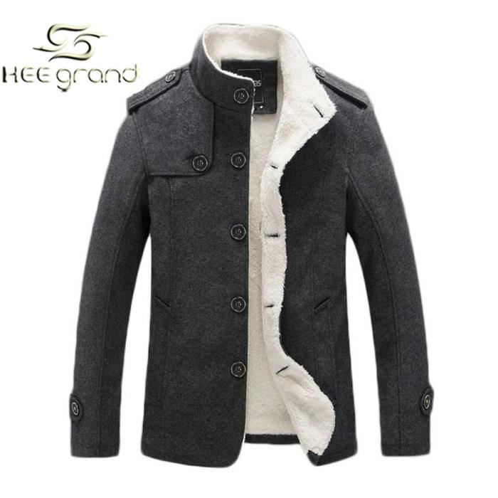 homme manteau de laine chaud blouson boutonn a gris achat vente manteau caban cdiscount. Black Bedroom Furniture Sets. Home Design Ideas