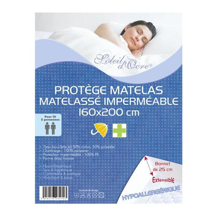 protege matelas matelasse impermeable 160x200 achat vente prot ge matelas cdiscount. Black Bedroom Furniture Sets. Home Design Ideas