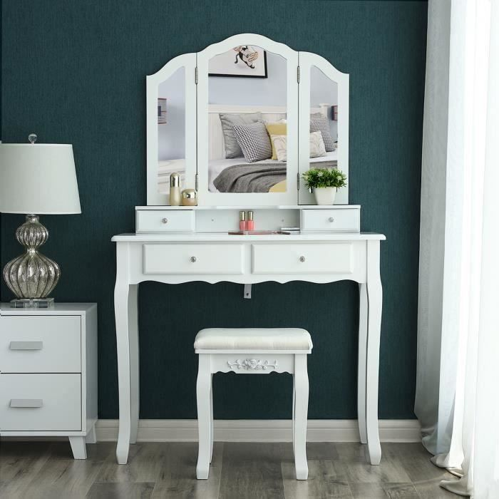 songmics grande coiffeuse table de maquillage avec 3 miroir 4 tiroirs et tabouret fix e au mur. Black Bedroom Furniture Sets. Home Design Ideas