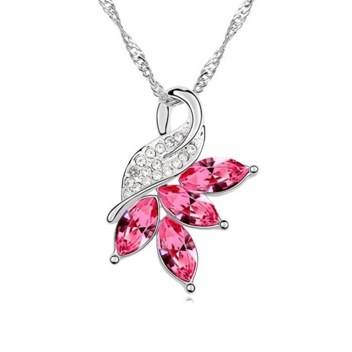 Collier plaqué or Fleur et cristaux SWAROVSKI ELEMENTS multicolores couleur Rose