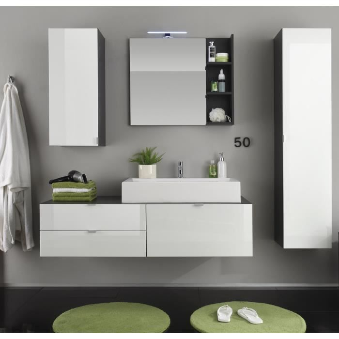Charmant BEACH Ensemble Salle De Bain Simple Vasque L 140 Cm + Colonne Et Miroir    Gris Anthracite Et Blanc Brillant