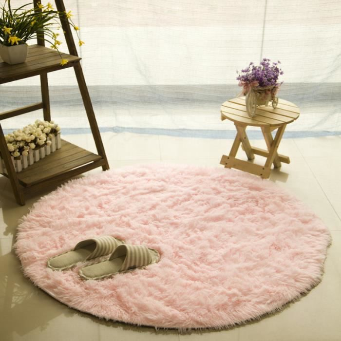 tapis rond rose achat vente tapis rond rose pas cher. Black Bedroom Furniture Sets. Home Design Ideas