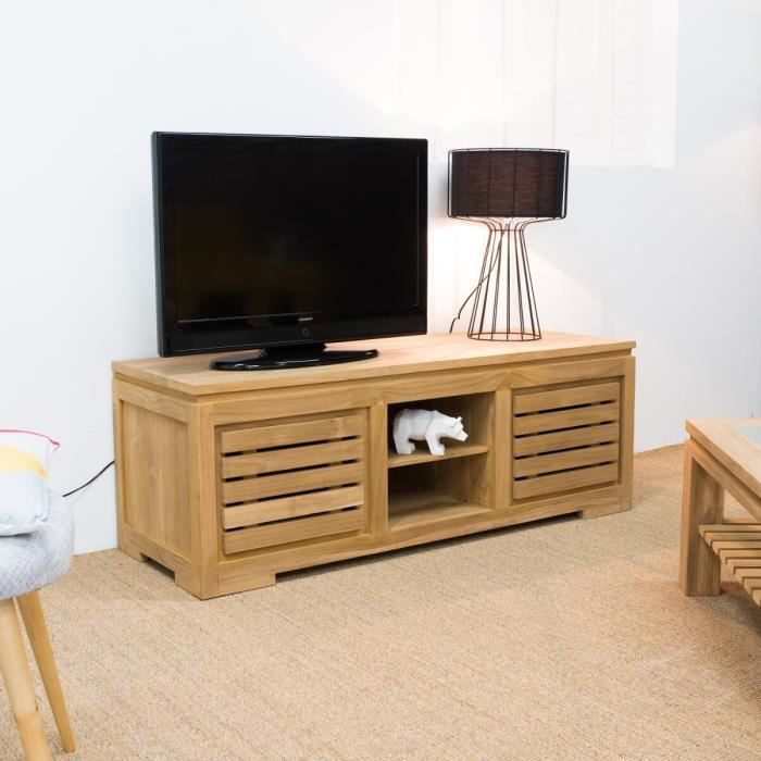 meuble tv bois en teck zen 140 achat vente meuble tv. Black Bedroom Furniture Sets. Home Design Ideas