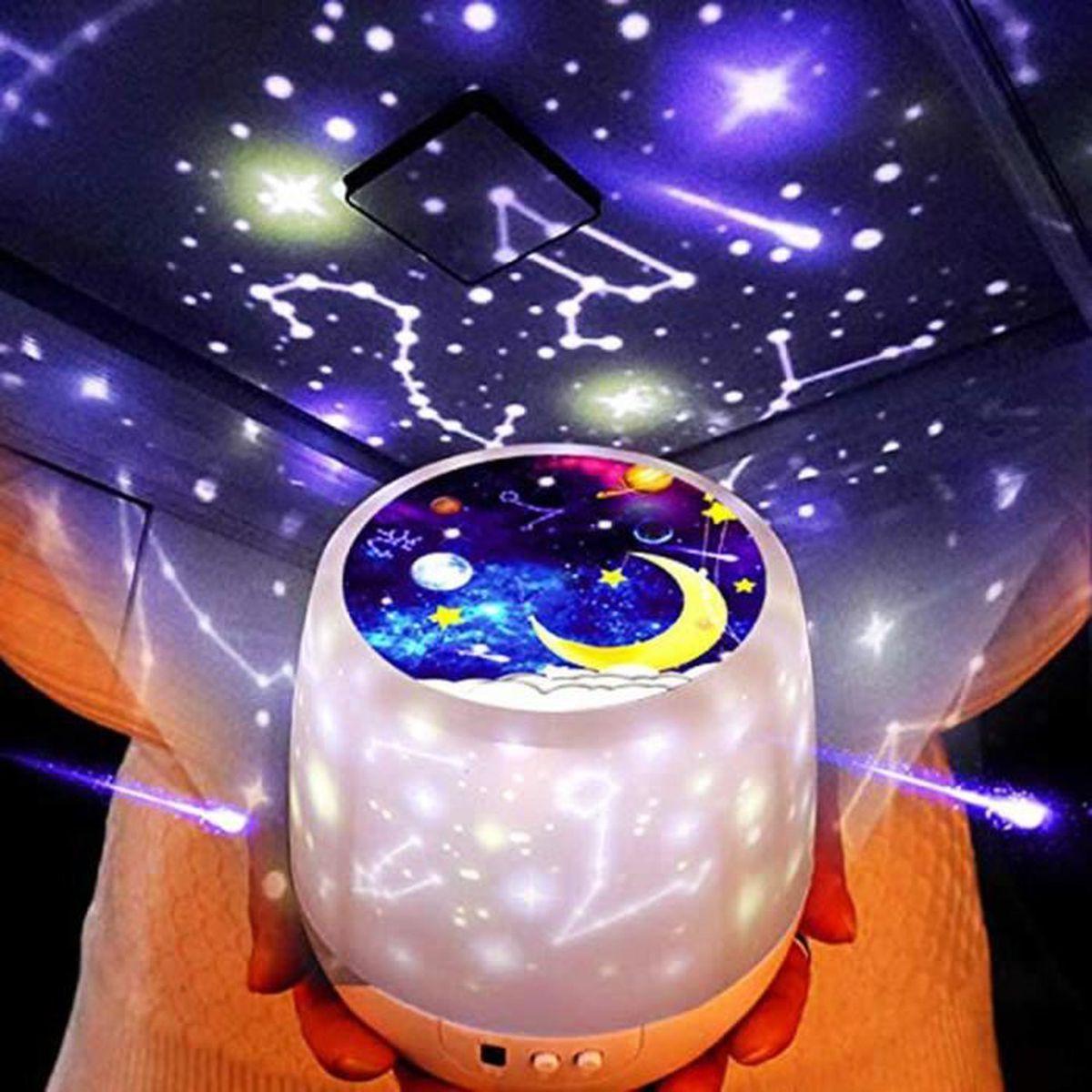 Veilleuse Bébé Lampe Projecteur Enfant Etoile Plafond Lumiere Led de Nuit 360 °