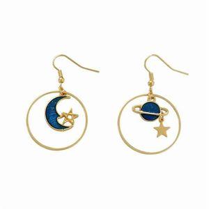 1 Paire Femmes Cercle Lune Planète L/'asymétrie Boucles d/'oreilles Fashion Gouttes Or Crochet Dangle