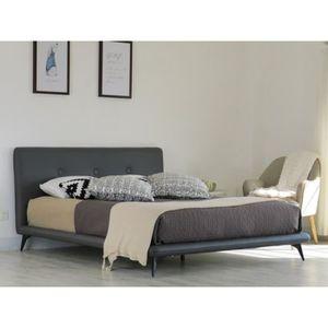 STRUCTURE DE LIT Lit FINN 160x200 cm en simili cuir et coloris gris