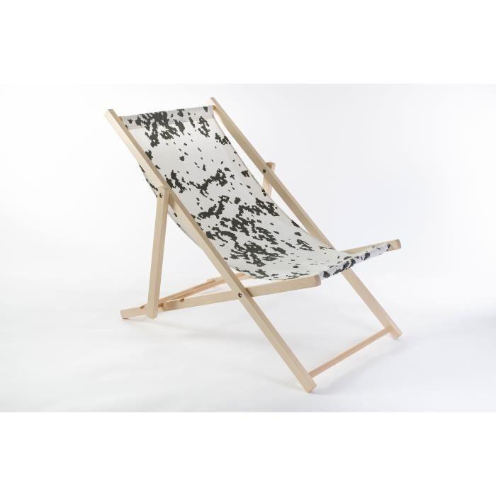 Chaise Longue en Bois de Hêtre de Jardin, de Plage, pliable, Premium [blanc]