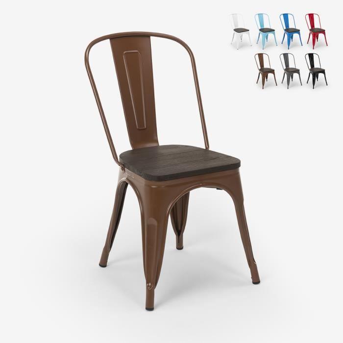 Chaises industrielles en bois et acier Tolix pour cuisine et bar Steel Wood, Couleur: Marron