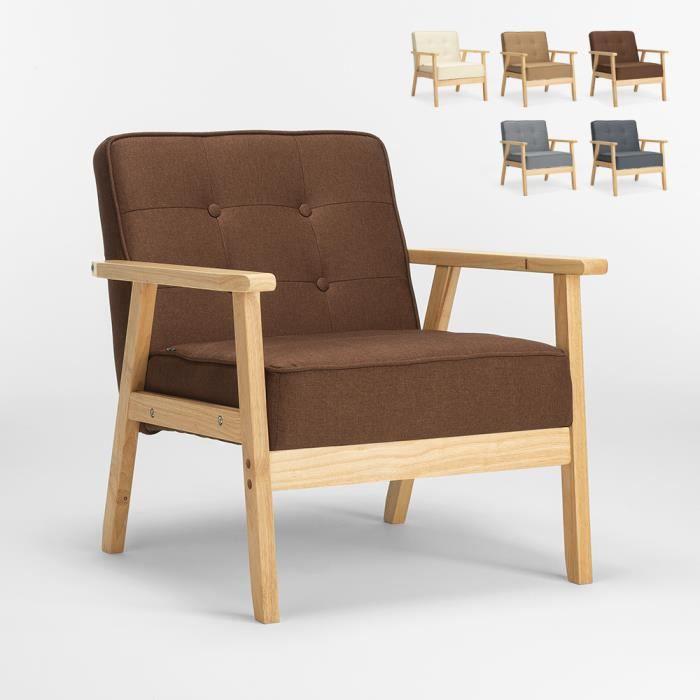 Fauteuil en bois au design scandinave vintage avec accoudoirs Hage, Couleur: Marron